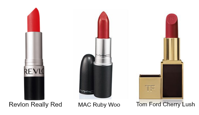 Revlon Really Red $21.95 | MAC Ruby Woo $36 | Tom Ford Cherry Lush $68
