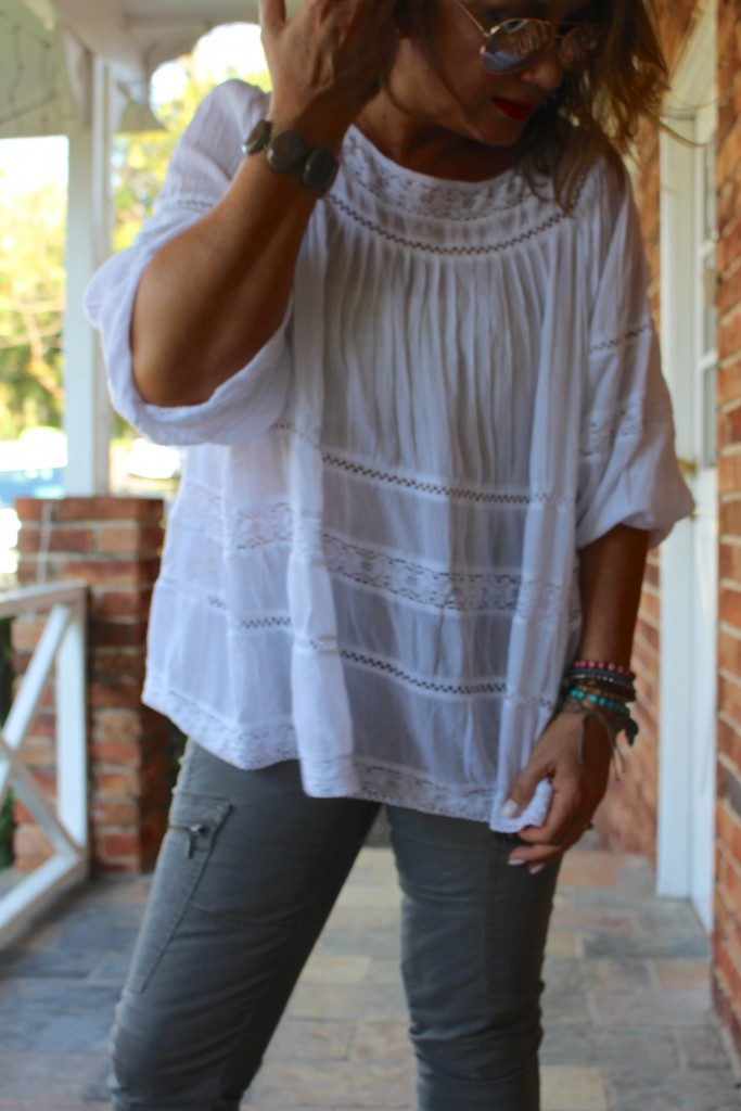 Bohemian Traders Long Sleeve Lace Trim Shirt